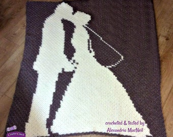 Wedding Couple Afghan, C2C Crochet Pattern, Written Row Counts, C2C Graphs, Corner to Corner, Crochet Pattern, C2C Graph