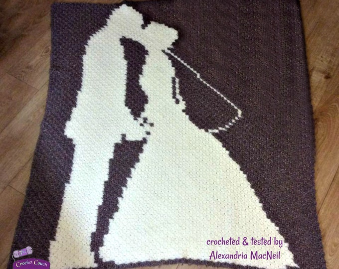 Featured listing image: Wedding Couple Afghan, C2C Crochet Pattern, Written Row Counts, C2C Graphs, Corner to Corner, Crochet Pattern, C2C Graph
