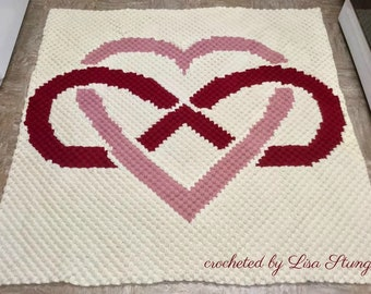 Infinite Love Afghan, C2C Crochet Pattern, Written Row Counts, C2C Graphs, Corner to Corner, Crochet Pattern, C2C Graph