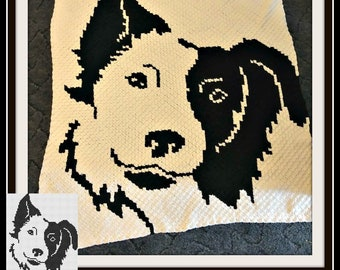 Border Collie Afghan, C2C Crochet Pattern, Written Row Counts, C2C Graphs, Corner to Corner, Crochet Pattern, C2C Graph