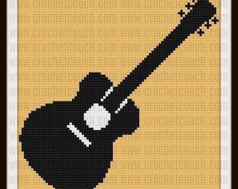Guitar Afghan, C2C Crochet Pattern, Written Row Counts, C2C Graphs, Corner to Corner, Crochet Pattern, C2C Graph
