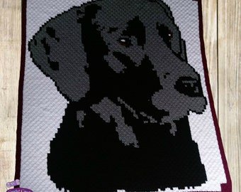 Black Lab Blanket, C2C Crochet Pattern, Written Row Counts, C2C Graphs, Corner to Corner, Crochet Pattern, C2C Graph