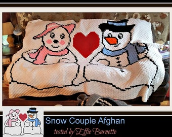 Snowman Couple Twin Afghan, C2C Graph, Written Word Chart