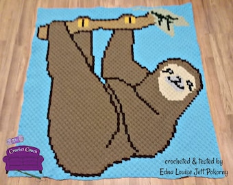 Sloth Afghan, C2C Crochet Pattern, Written Row by Row Color Counts, Instant Download