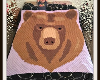 Bear Head Afghan, C2C Crochet Pattern, Written Row Counts, C2C Graphs, Corner to Corner, Crochet Pattern, C2C Graph