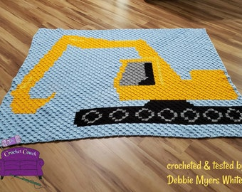 Excavator Kids Afghan, C2C Crochet Pattern, Written Row by Row, Color Counts, Instant Download, C2C Graph, C2C Pattern, Graphgan Pattern