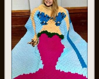 Mermaid with Trident Kids Afghan, C2C Crochet Pattern, Written Row Counts, C2C Graphs, Corner to Corner, Crochet Pattern, C2C Graph