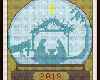 Nativity Snow Globe Afghan, C2C Graph, Crochet Pattern