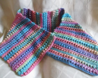 Pastel Rainbow Bubble Scarf, Crochet Pattern