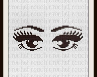 Eyes Afghan, C2C Crochet Pattern, Written Row Counts, C2C Graphs, Corner to Corner, Crochet Pattern, C2C Graph