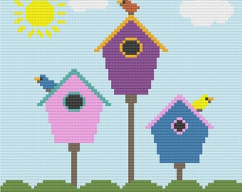Birds at Home Afghan, C2C Crochet Pattern, Written Row by Row, Color Counts, Instant Download, C2C Graph, C2C Pattern, Graphgan Pattern