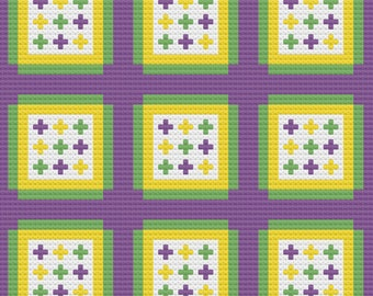 Faith Quilt Afghan, C2C Crochet Pattern, Written Row by Row, Color Counts, Instant Download, C2C Graph, C2C Pattern, Graphgan Pattern