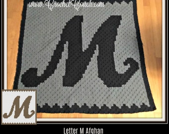 Letter M Swirly Afghan, C2C Graph, and Written Word Chart