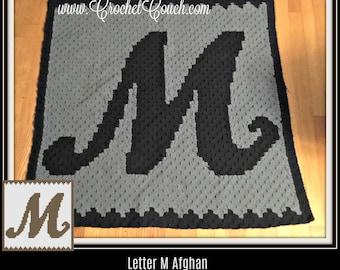 Letter M Swirly Afghan, C2C Crochet Pattern, Written Row Counts, C2C Graphs, Corner to Corner, Crochet Pattern, C2C Graph