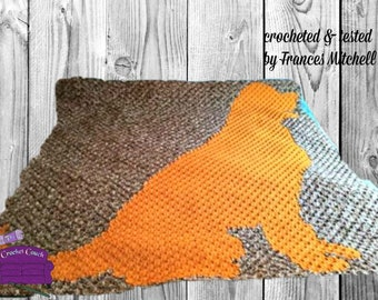 Dog Silhouette Afghan, C2C Crochet Pattern, Written Row by Row, Color Counts, Instant Download, C2C Graph, C2C Pattern