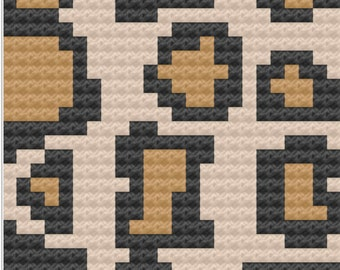 Cheetah Print Pillow, C2C Crochet Pattern, Written Row by Row, Color Counts, Instant Download, C2C Graph, C2C Pattern, Crochet Pillow