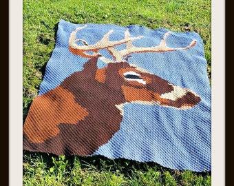 Deer at Night Afghan, C2C Crochet Pattern, Written Row Counts, C2C Graphs, Corner to Corner, Crochet Pattern, C2C Graph