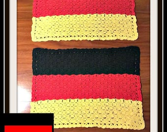 Germany Flag Placemat, C2C Crochet Pattern, Written Row Counts, C2C Graphs, Corner to Corner, Crochet Pattern, C2C Graph