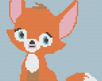Fox Kids Afghan, C2C Crochet Pattern, Written Row by Row, Color Counts, Instant Download, C2C Graph, C2C Pattern