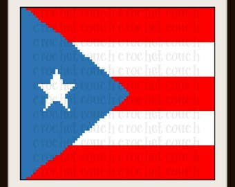 Puerto Rico Flag Afghan, C2C Crochet Pattern, Written Row Counts, C2C Graphs, Corner to Corner, Crochet Pattern, C2C Graph