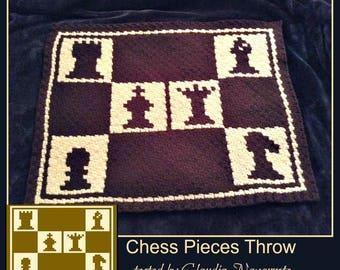 Chess Pieces, C2C Crochet Pattern, Written Row Counts, C2C Graphs, Corner to Corner, Crochet Pattern, C2C Graph