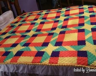 Melissa Quilt Afghan, C2C Crochet Pattern, Written Row Counts, C2C Graphs, Corner to Corner, Crochet Pattern, C2C Graph