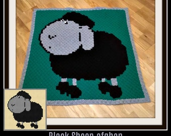 Black Sheep Baby Afghan, C2C Graph, Written Word Chart