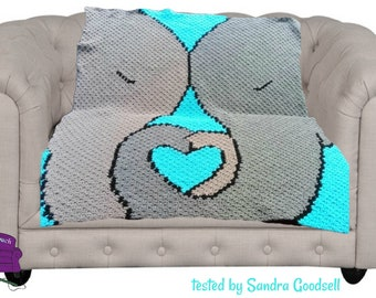 Elephant Love Afghan, C2C Crochet Pattern, Written Row by Row, Color Counts, Instant Download, C2C Graph, C2C Pattern, Graphgan Pattern