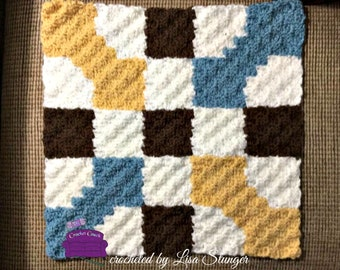 Bonnie Quilt Square, C2C Crochet Pattern, Written Row Counts, C2C Graphs, Corner to Corner, Crochet Pattern, C2C Graph