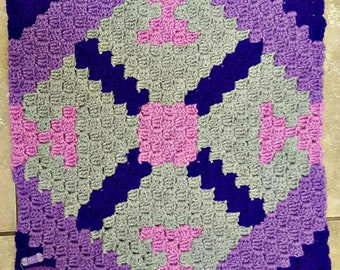 Cheryl Quilt Square, C2C Crochet Pattern, Written Row Counts, C2C Graphs, Corner to Corner, Crochet Pattern, C2C Graph