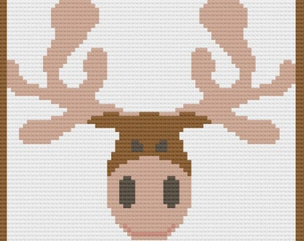 Moose Head Afghan, C2C Crochet Pattern, Written Row by Row, Color Counts, Instant Download, C2C Graph, C2C Pattern, Graphgan