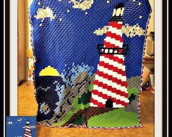Lighthouse Afghan, C2C Crochet Pattern, Written Row Counts, C2C Graphs, Corner to Corner, Crochet Pattern, C2C Graph
