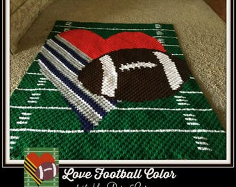 Love Football in color Afghan, C2C Crochet Pattern, Written Row Counts, C2C Graphs, Corner to Corner, Crochet Pattern, C2C Graph
