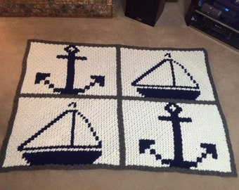 Anchors and Sailboats Small Afghan, C2C Crochet Pattern, Written Row Counts, C2C Graphs, Corner to Corner Crochet Pattern, C2C Graph