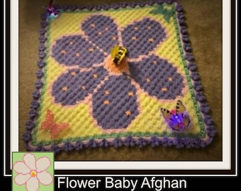 Flower Afghan, C2C Crochet Pattern, Written Row Counts, C2C Graphs, Corner to Corner, Crochet Pattern, C2C Graph