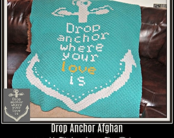 Drop Anchor Afghan, C2C Crochet Pattern, Written Row Counts, C2C Graphs, Corner to Corner, Crochet Pattern, C2C Graph