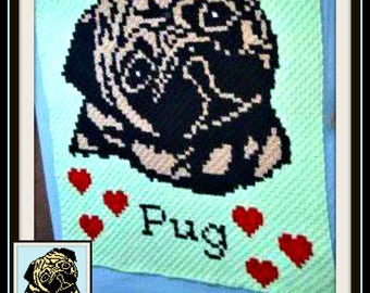 Pug, C2C Crochet Pattern, Written Row Counts, C2C Graphs, Corner to Corner, Crochet Pattern, C2C Graph