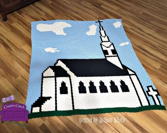 Old White Church Afghan, C2C Crochet Pattern, Written Row by Row, Color Counts, Instant Download, C2C Graph, C2C Pattern