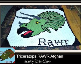 Triceratops RAWR Afghan, C2C Crochet Pattern, Written Row Counts, C2C Graphs, Corner to Corner, Crochet Pattern, C2C Graph