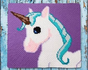 Unicorn Kids Afghan C2C Crochet Pattern, Written Row by Row Counts, C2C Graphs, Corner to Corner Crochet Pattern, Graphgan, Unicorn C2C