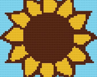 Sunflower Baby Afghan, C2C Crochet Pattern, Written Row Counts, C2C Graphs, Corner to Corner Crochet Pattern, Graphgan, Sunflower C2C Graph