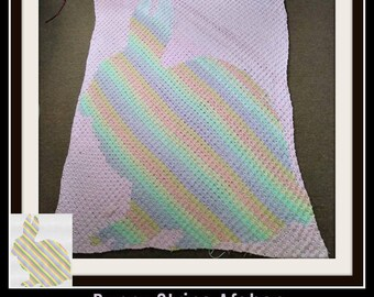 Bunny Stripe Afghan, C2C Crochet Pattern, Written Row Counts, C2C Graphs, Corner to Corner, Crochet Pattern, C2C Graph