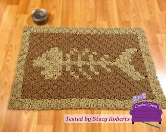 Cat Dish Mat, C2C Crochet Pattern, Written Row by Row, Color Counts, Instant Download, C2C Graph, C2C Pattern