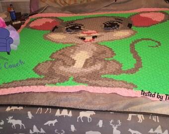 Happy Mouse Afghan, C2C Crochet Pattern, Written Row by Row, Color Counts, Instant Download, C2C Graph, C2C Pattern, C2C Crochet, Graphgan