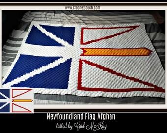 C2C Graph, Newfoundland Flag,  Written Word Chart,  c2c afghan