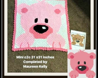 Baby Bear Afghan in pinks , C2C Crochet Pattern, Written Row Counts, C2C Graphs, Corner to Corner, Crochet Pattern, C2C Graph