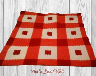 Laura Quilt Blanket, C2C Crochet Pattern, Written Row Counts, C2C Graphs, Corner to Corner, Crochet Pattern, C2C Graph, Graphgan