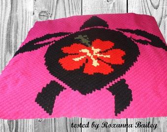Turtle with Flower Afghan, C2C Crochet Pattern, Written Row Counts, C2C Graphs, Corner to Corner, Crochet Pattern, C2C Graph