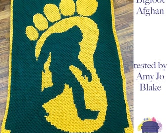 Bigfoot Twin Afghan, C2C Crochet Pattern, Written Row by Row, Color Counts, Instant Download, C2C Graph, C2C Pattern, Graphgan Pattern