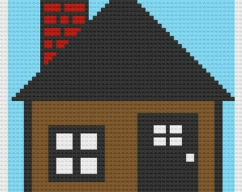 Simple Brown House Small Afghan, C2C Crochet Pattern, Written Row by Row Color Counts, Instant Download